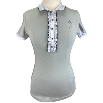 Goode Rider Couture Ruffle Show Shirt in Grey - Women's Small