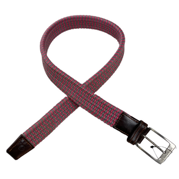 Manfredi Woven Stretch Belt in Pink/Grey