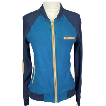 Le Fash Bomber Jacket in Turquoise/Navy/Tan - Women's XS