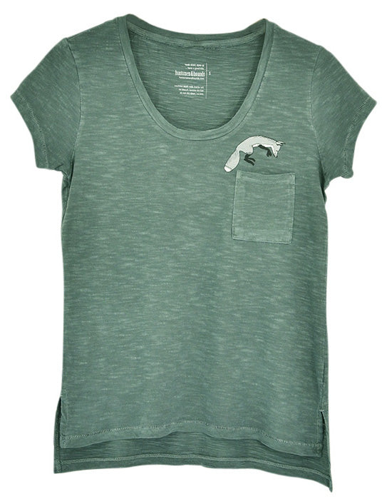 Huntsmen & Hounds Foxy Pocket Tee in Dusty Green