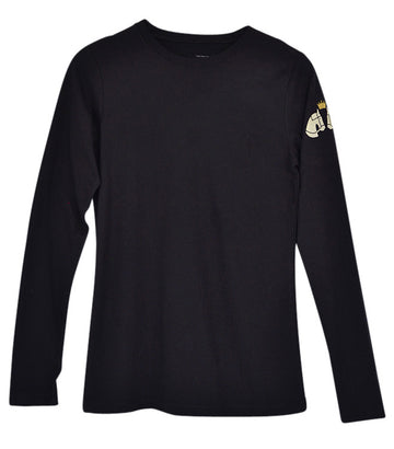 Huntsmen & Hounds Long Sleeve Mini Royal Tee in Black