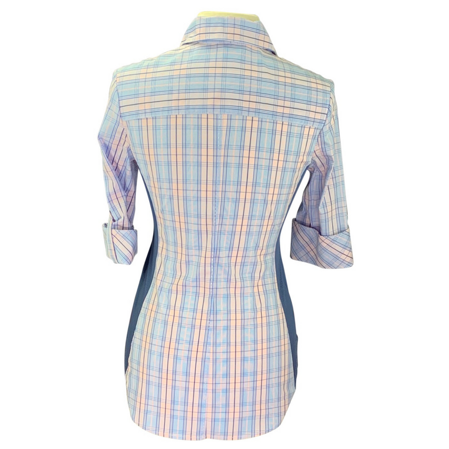 Back of Goode Rider Perfect Shirt  in Blue Plaid