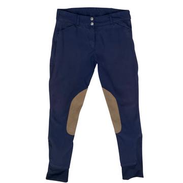 Elation Platinum Chelsea Breeches in Navy/Tan Knee Patch