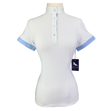 Levade Clothier 'Nina' Shirt in White/Blue - Women's XS