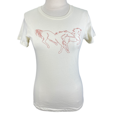 Spiced Equestrian 'Strung Out' Tee in Cream - Women's Small