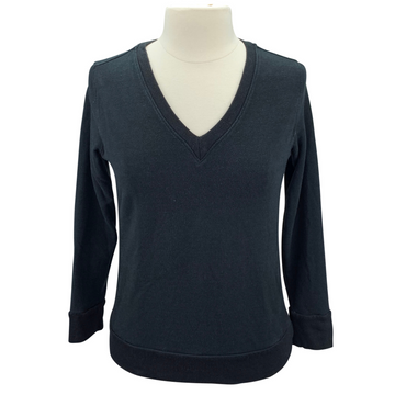 Two Bits Equestrian The Bamboo V-Neck II in Black - Women's S/M