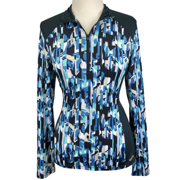 Kerrits Ice Fil Lite Long Sleeve Shirt in Black/Multi Horse Pattern - Women's Medium