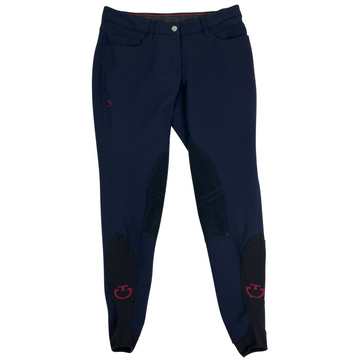 Cavalleria Toscana Perforated Knee Patch Breeches in Navy.