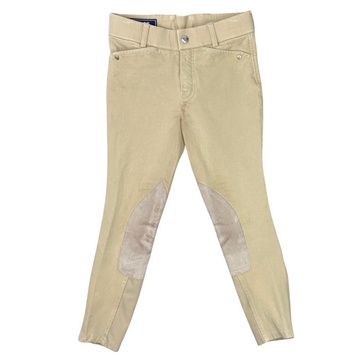 Front of Ariat Heritage Knee Patch Breeches in Tan