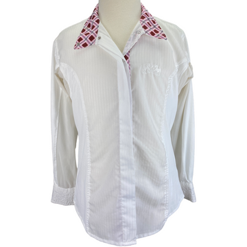 Equine Couture Kelsey Show Shirt in White/Pink Argyle - Children's 12