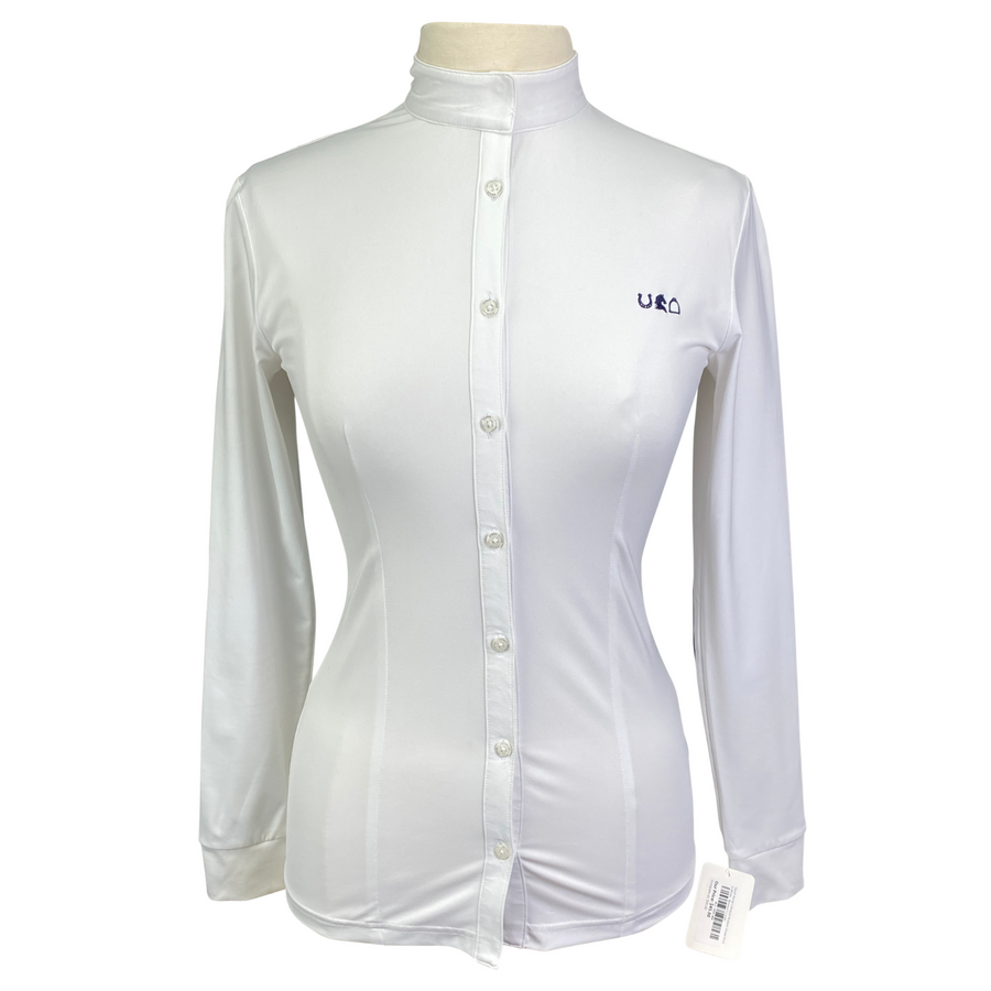Sport Horse Lifestyle Hudson Show Shirt in White - Women's Large