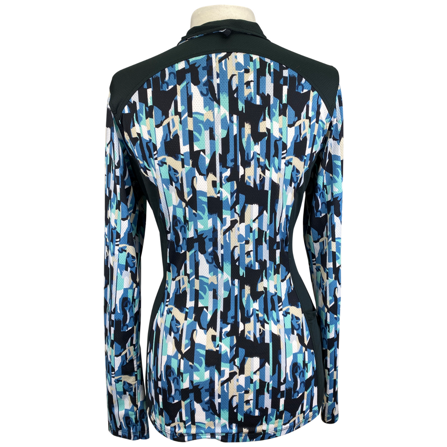 Back of Kerrits Ice Fil Lite Long Sleeve Shirt in Black/Multi Horse Pattern - Women's Medium