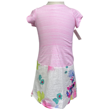 Joules Watercolor Dress in Pink/White