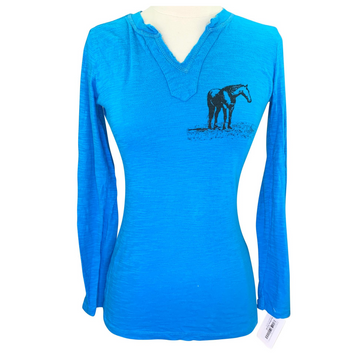 Cowgirls for a Cause Long Sleeve V-Neck Tee in Blue