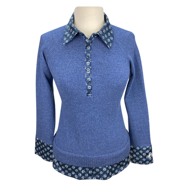 Goode Rider Posh Polo Sweater in Navy Heather