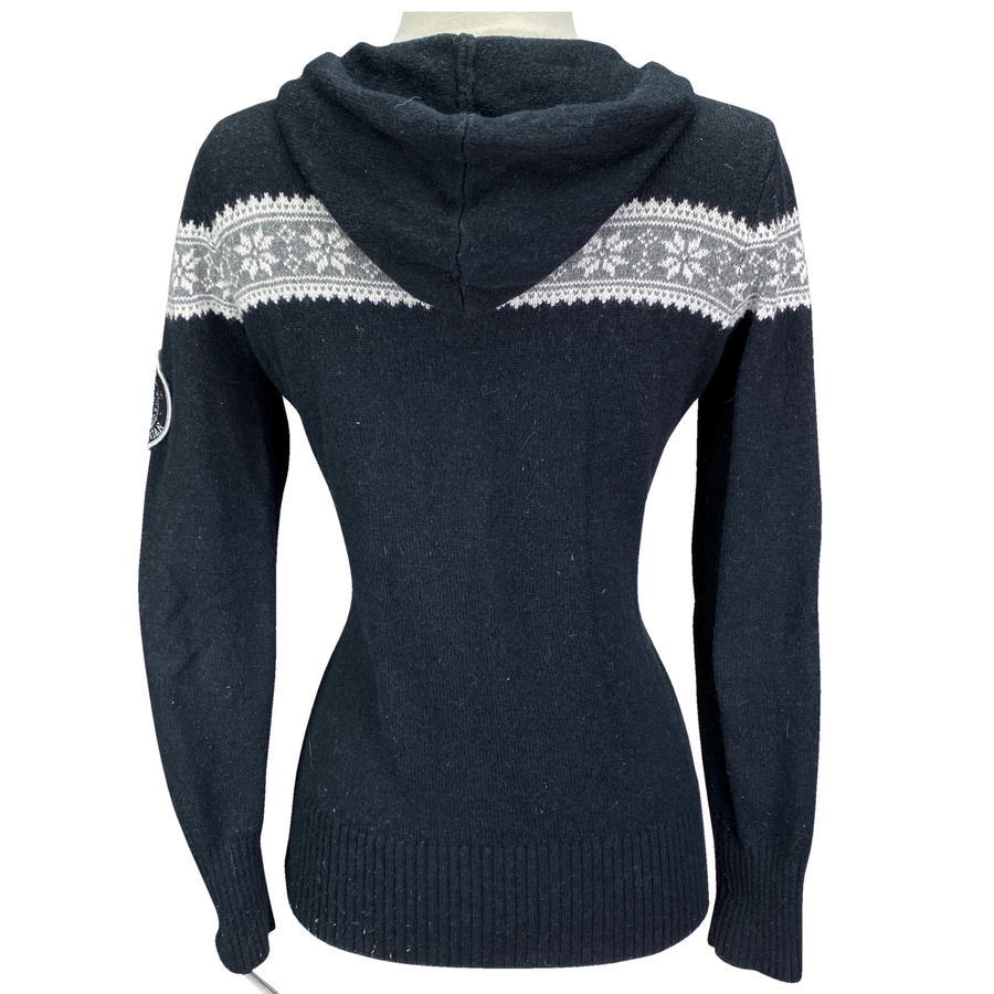 Back of Kingsland Hooded Knit Sweater in Black/Grey/White - Women's Small