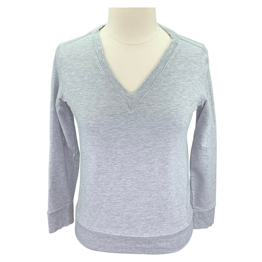 Two Bits Equestrian The Bamboo V-Neck II in Grey - Women's XS/S