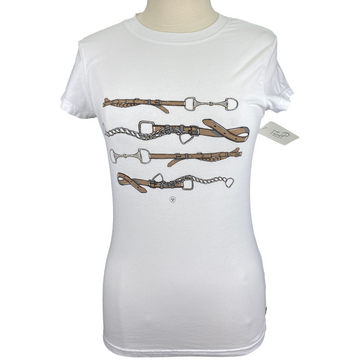 Ariat T-Shirt in White/Equestrian Print - Women's Small