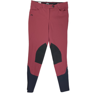 MaKeBe Audrey Alcantara Breeches in Burgundy/Black Knee Patch - Women's IT 46 (US 32)