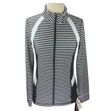 Ideology Never Striped High Low Track Jacket in Black and White