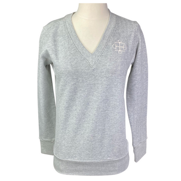 Two Bits Equestrian The Herringbone V Neck II in Grey - Women's XS/S