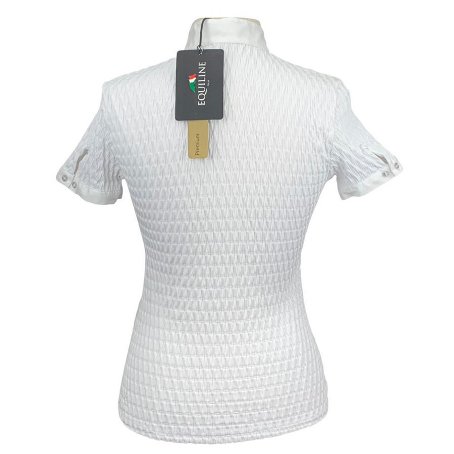 Back of Equiline Alissa Competition Shirt in White