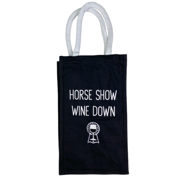 Spiced Equestrian 'Wine Down' Bottle Tote in Black/White - One Size