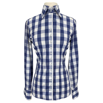 Fior Da Liso Linda Shirt in Navy Buffalo Plaid