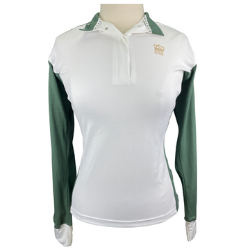 Equine Couture 'GHM' Champion Long Sleeve Show Shirt in White/Olive - Women's Medium