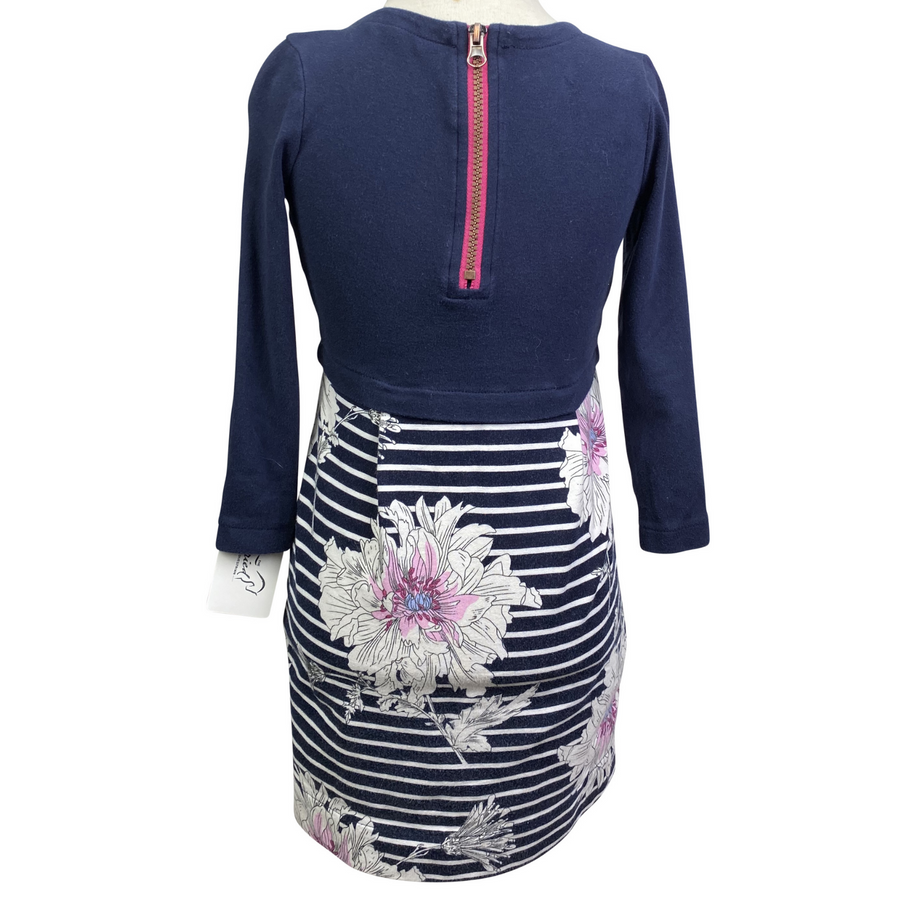 Back of Joules 3/4 Sleeve Dress in Navy