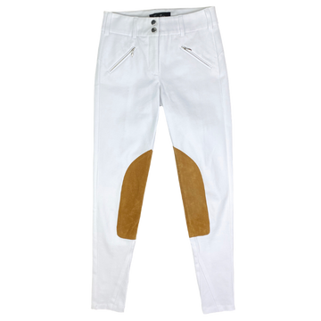Free x Rein The Derby Riding Pants in White/Tan Knee Patch - Women's 24