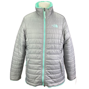 The North Face Reversible Mossbud Jacket in Teal/Grey - Children's XL