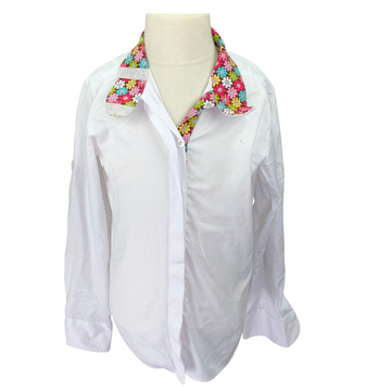 Kathryn Lily Equestrian Show Shirt in White/Floral
