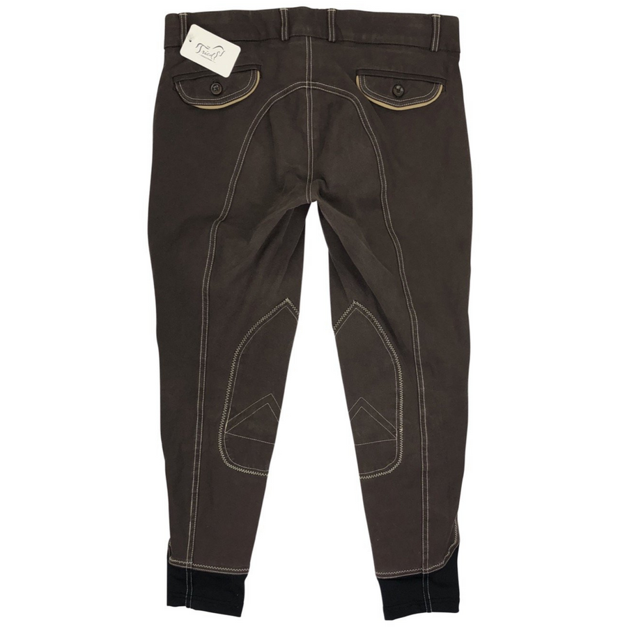 Back of Huntley Knee Patch Breeches in Brown/Tan - Women's 32