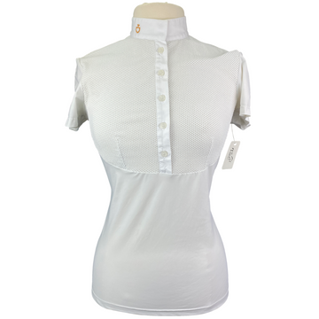 Cavalleria Toscana Perforated Bib Competition Shirt in White - Women's Large