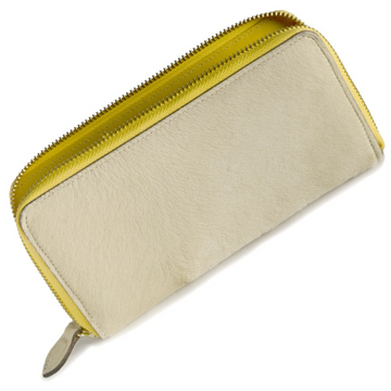 Full view of Oughton Limited Carteret Haircalf Wallet in Creme and Yellow - One Size