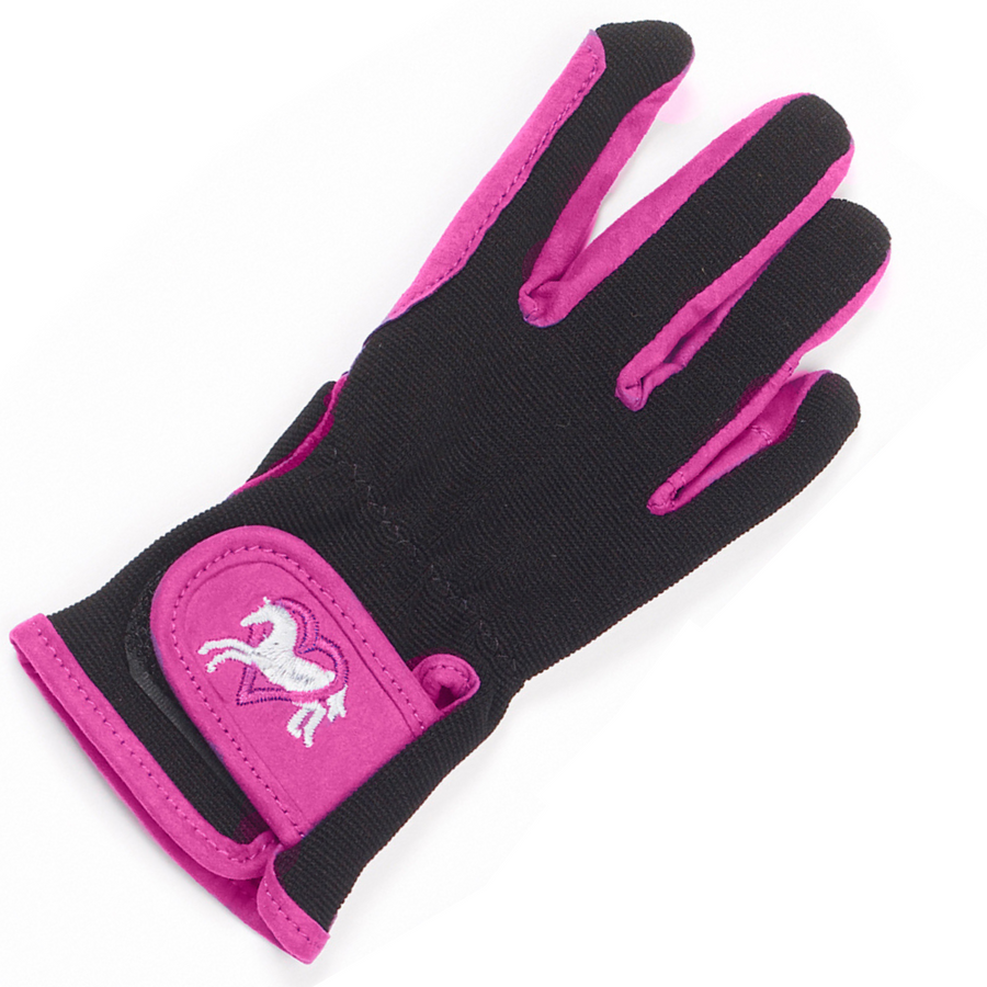 Ovation Hearts & Horses Glove in Pink/Black