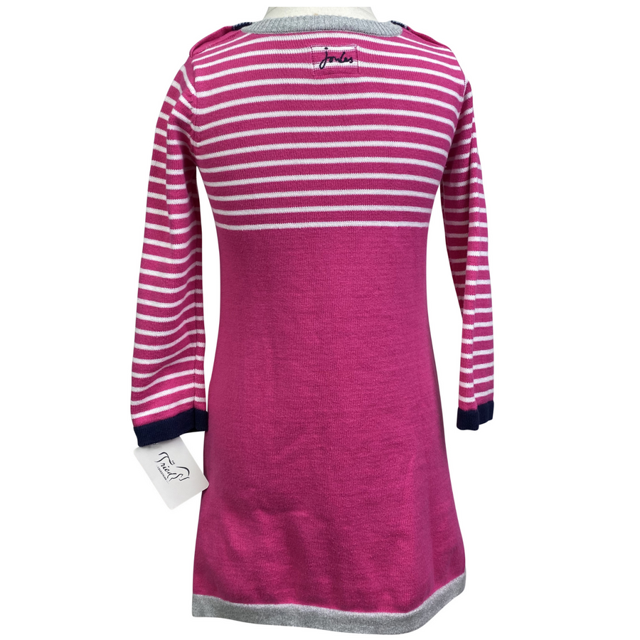 Back of Joules Sweater Dress in Pink Stripes