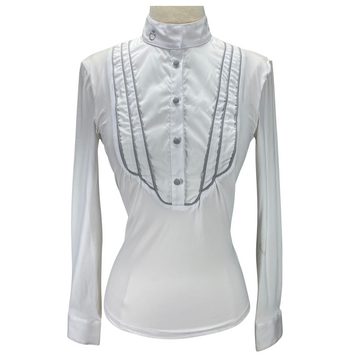 Front of Cavalleria Toscana Deco Piping Show Shirt in White/Grey Piping