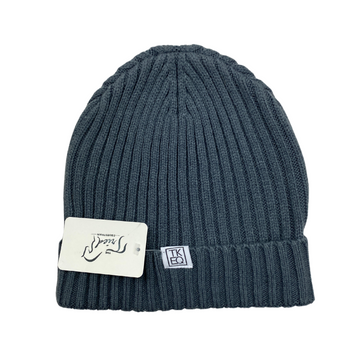 Front of TKEQ Knit Beanie in Nickel