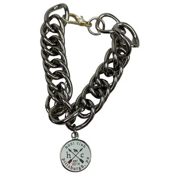 Hunt Club 'Curb Chain' Bracelet in Stainless Steel w/ White Emblem