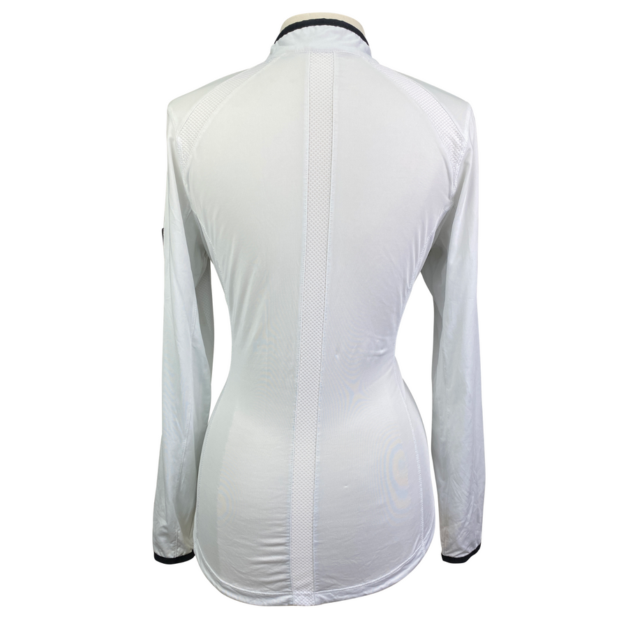 Back of Goode Rider 1/2 Zip Top in White - Women's Large