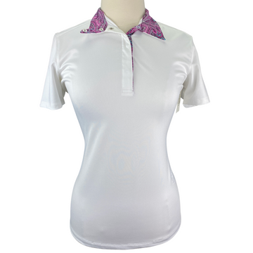 Essex Classics Talent Yarn Short Sleeve Show Shirt in White/Floral Collar Design - Women's Large