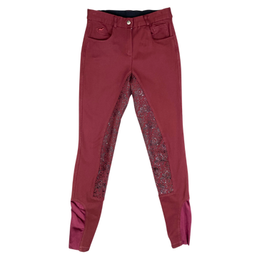 SmartPak Piper Knit Mid Rise Full Seat Breeches in Burgundy