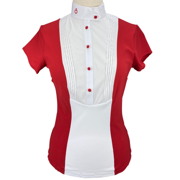 Cavalleria Toscana Technical Bib Show Shirt in Red/White - Women's Large
