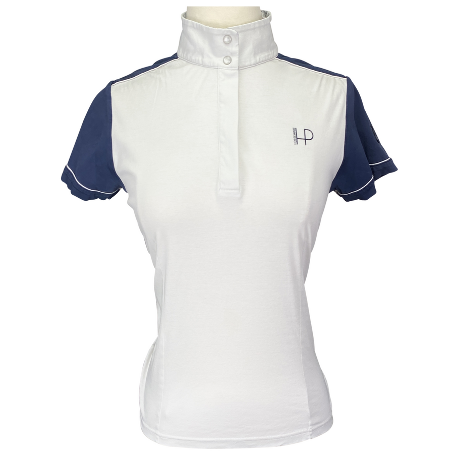 Horseware Competition Shirt in White/Navy Accents - Women's Small