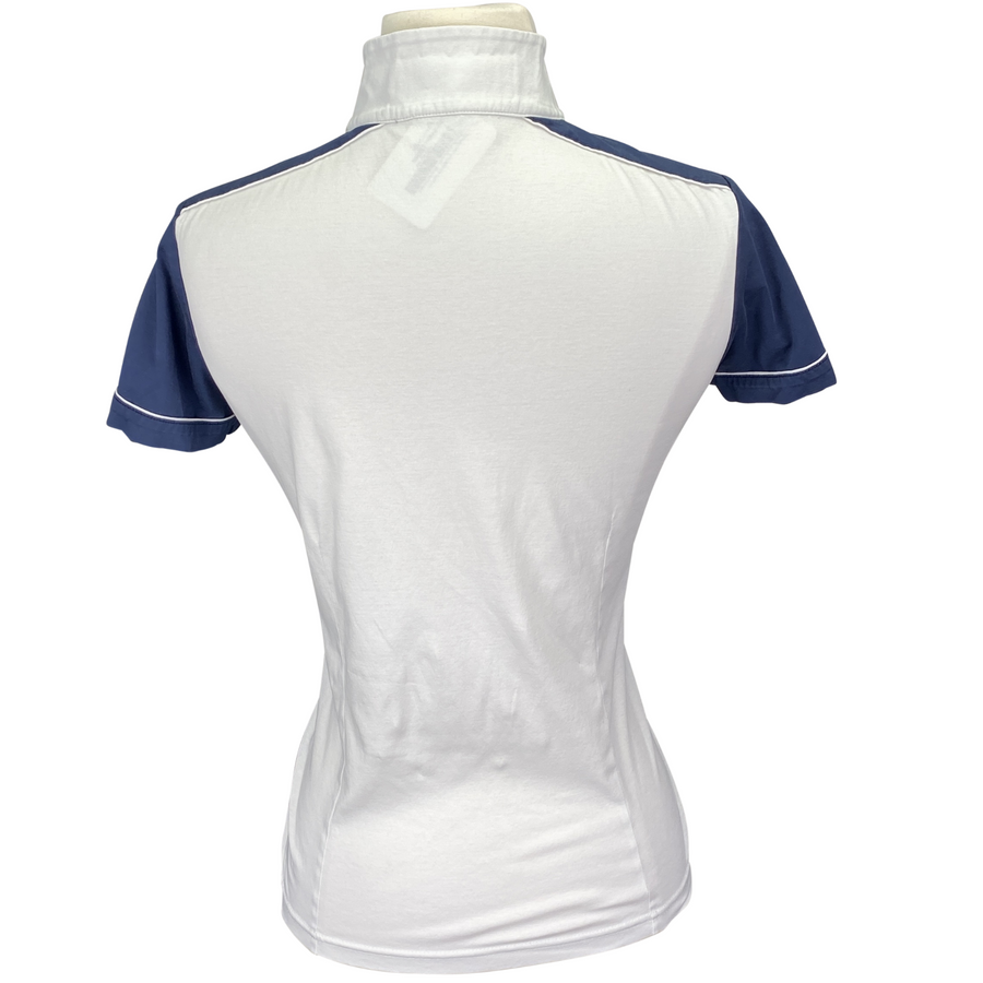 Back of Horseware Competition Shirt in White/Navy Accents - Women's Small