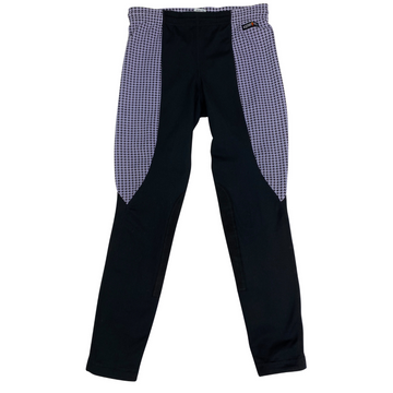 Kerrits Kids Performance Knee Patch Tight in Black/Light Purple Houndstooth.
