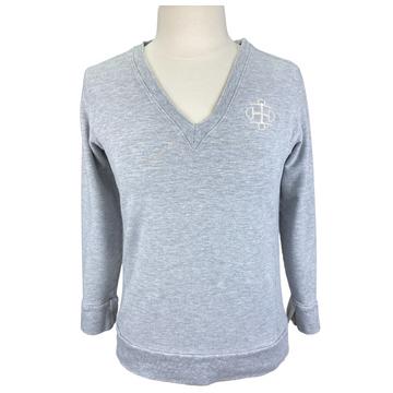 Front of Two Bits Equestrian The Bamboo V-Neck in Grey