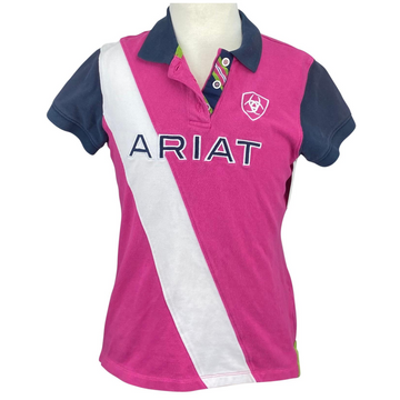 Ariat Team Polo in Pink/Navy/White